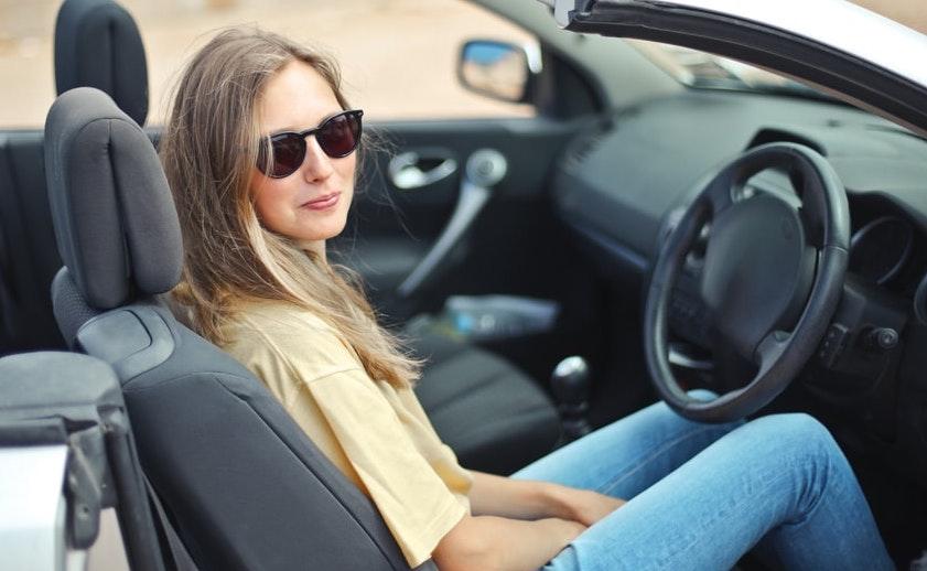 Woman sat in car