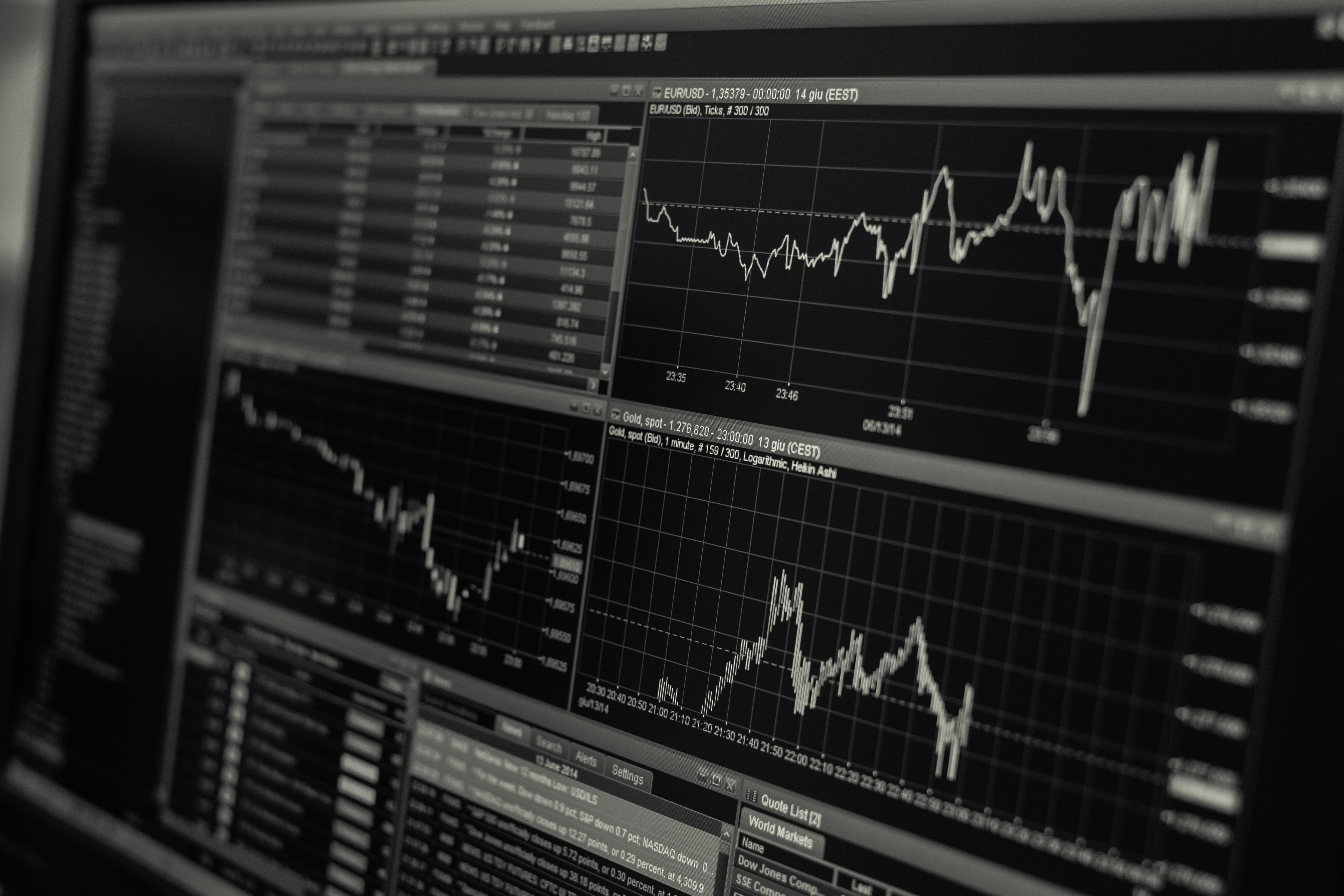 Investment stock and shares black and white